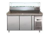 Comptoir réfrigéré avec réfrigération ventilée et vitrine 7GN 1/4