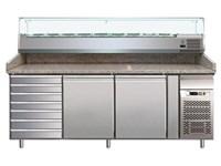 Comptoir réfrigéré avec réfrigération ventilée et vitrine 10GN 1/4