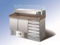 Comptoir réfrigéré avec réfrigération statique et vitrine 6GN 1/4