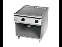 Grillade électrique plaque lisse chromée  deux zones de cuisson sur placard ouvert