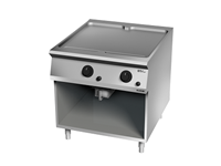 Grillade Gaz plaque lisse chromée deux zones de cuisson sur placard ouvert