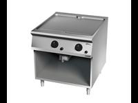 Grillade Gaz plaque lisse chromée 2 zones de cuisson sur placard ouvert
