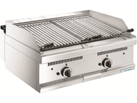 Grill pierre de lave gaz - 2 zones de cuisson
