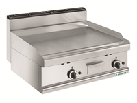 Grillade gaz - plaque lisse chrome - 2 zones de cuisson